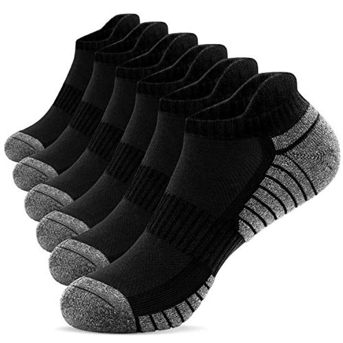 Mens Running Socks 6 Pairs Anti-Blister Cushioned Cotton Trainer Socks