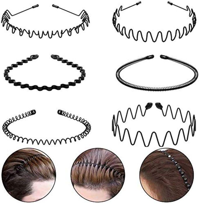 6 Pcs Hair Hoop Unisex Metal Headband