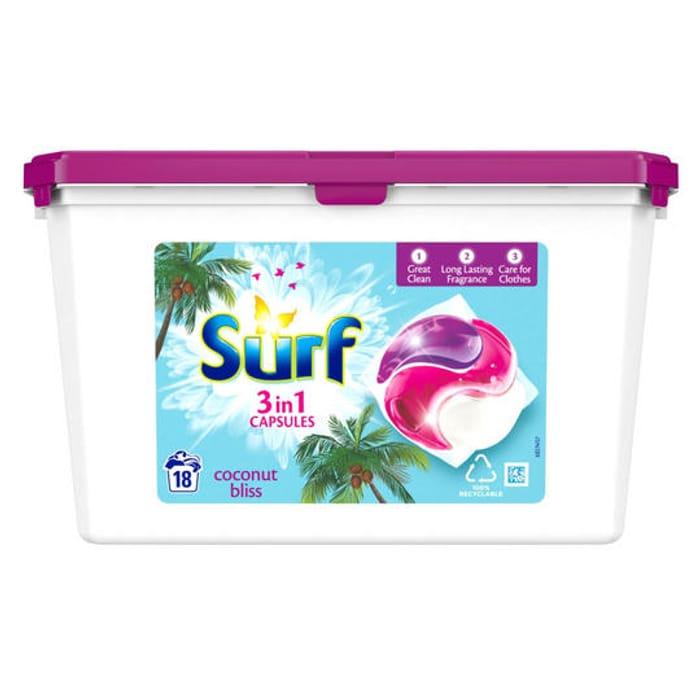 Surf Coconut Bliss Washing Capsules 18 Washes