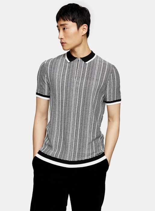 Geometric Print Knitted Polo