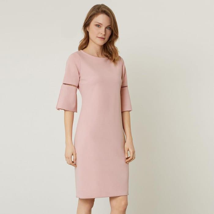 James Lakeland-Pink Anita Pleat Sleeve Dress  Size 18