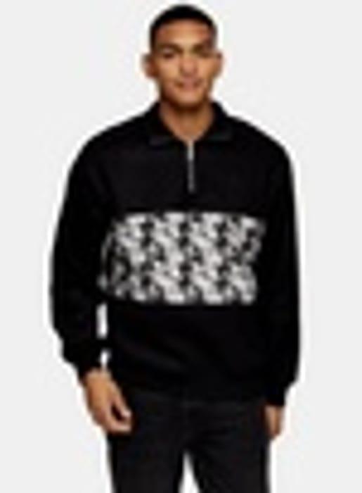Black Houndstooth 1/4 Neck Zip Sweatshirt