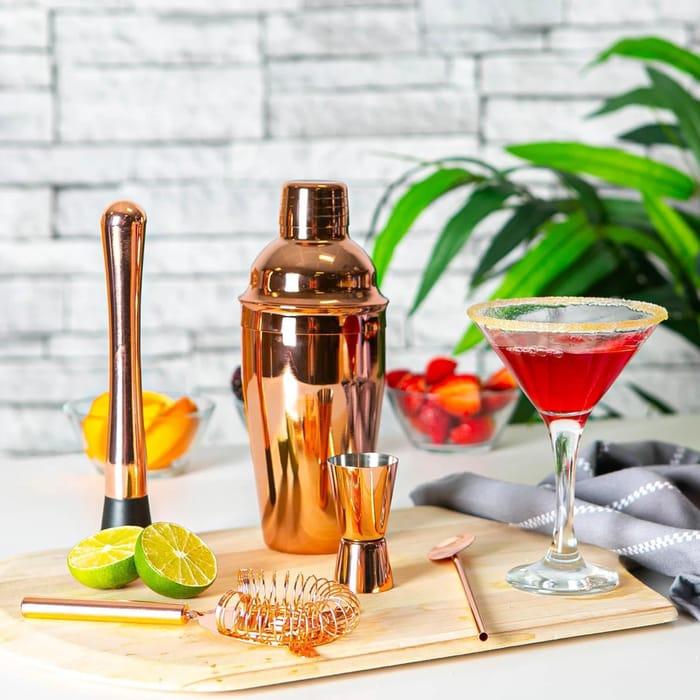Manhattan Cocktail Shaker & Martini Glasses Set - Rose Gold