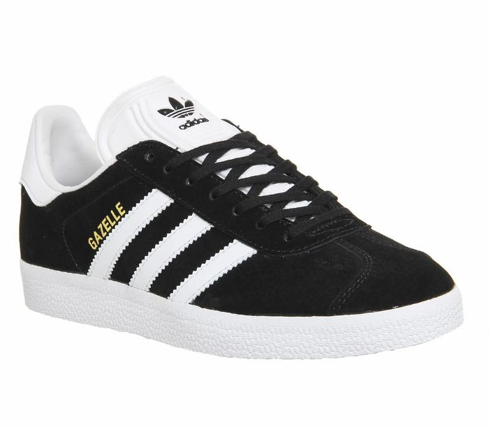 Mens Adidas Gazelle Core Black White Trainers