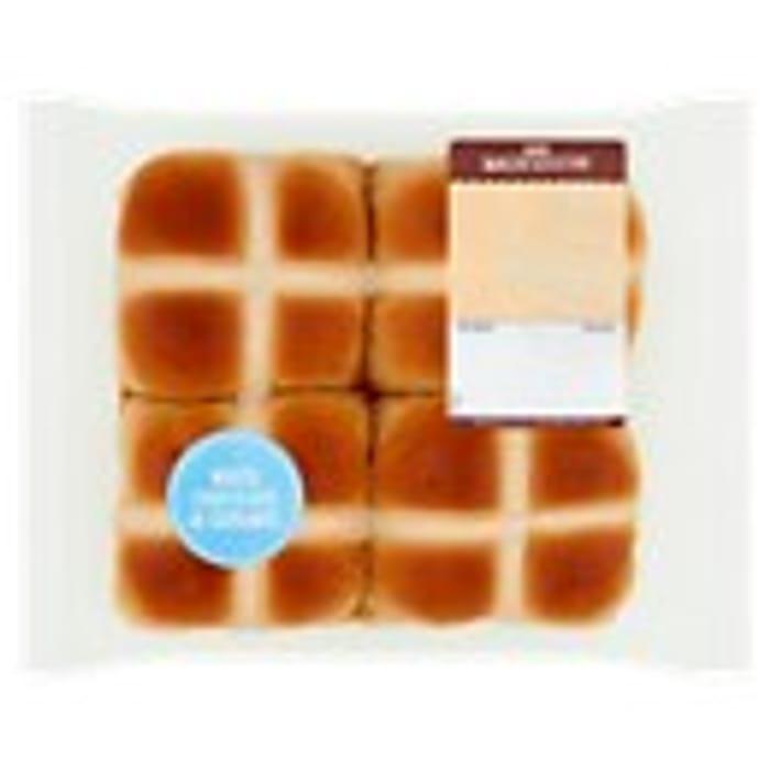 2X 4 Pack White Chocolate & Caramel \ Original Hot Cross Buns