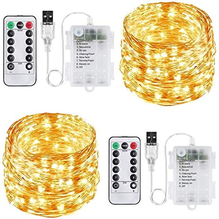 2 Pack 100 LED Waterproof USB or Battery Operated Fairy String Lights + 8 Modes