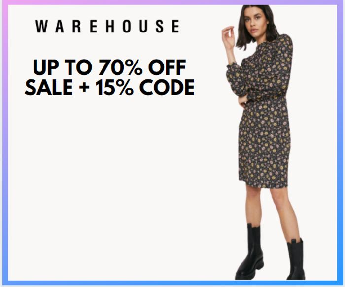 Warehouse - Up To 70% Off Sale + Extra 15% Off Code!