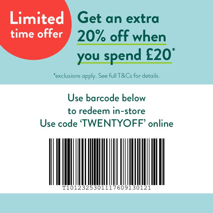 20% off When You Spend £20