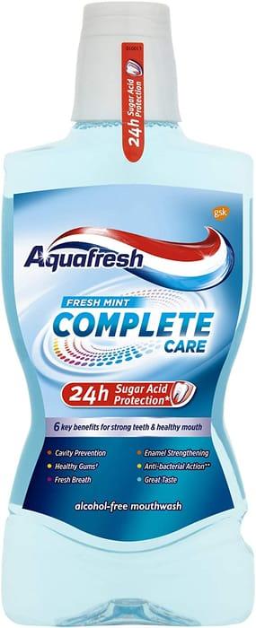 Aquafresh Complete Care Mouthwash with Fluoride, Fresh Mint, 500ml