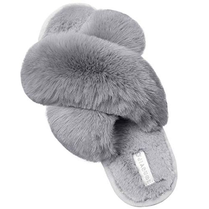 Women's Cross Band Fluffy Slippers - Only £10.49 Delivered