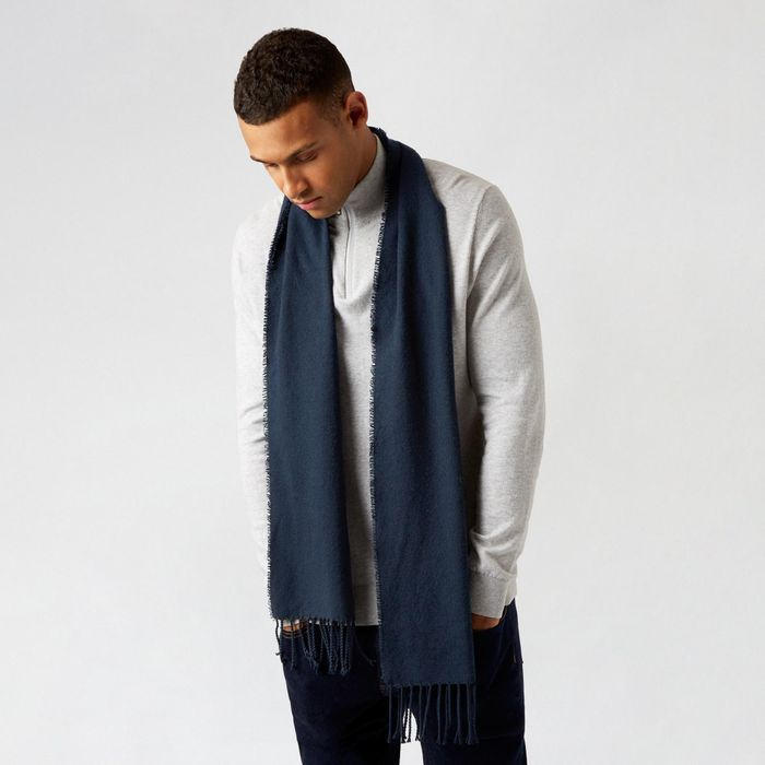 Burton - Navy Grey Scarf with Recycled Polyester