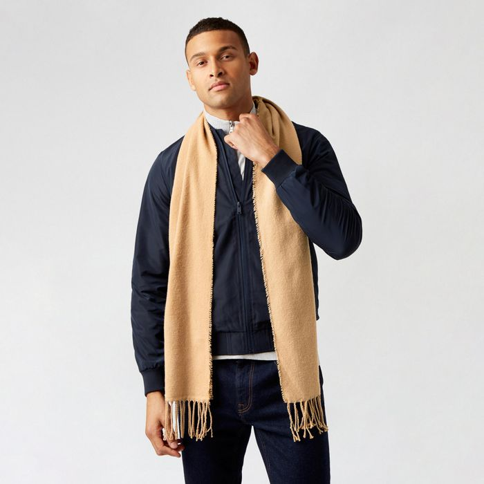 Burton - Camel Grey Scarf with Recycled Polyester