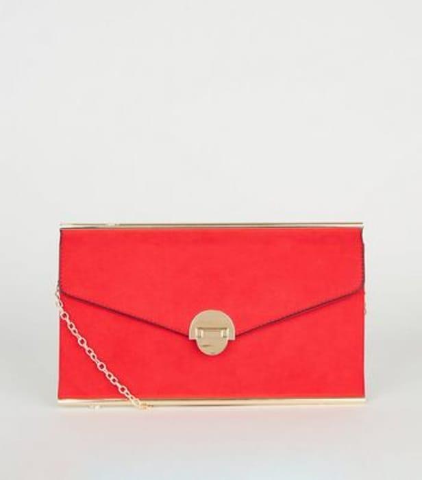 Red Suedette Envelope Clutch Bag