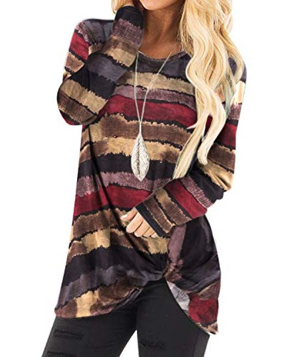 YOINS Women's Striped round Neck Long Sleeve Loose Fit T-Shirts