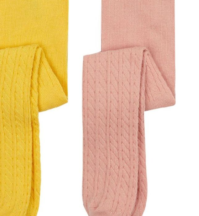 Pink and White Cable-Knit Tights - 3 Pack