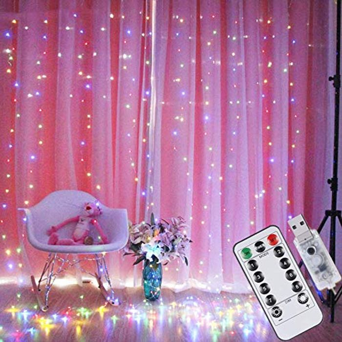 Deal Stack! USB Curtain Lights 200 LED, 8 Modes