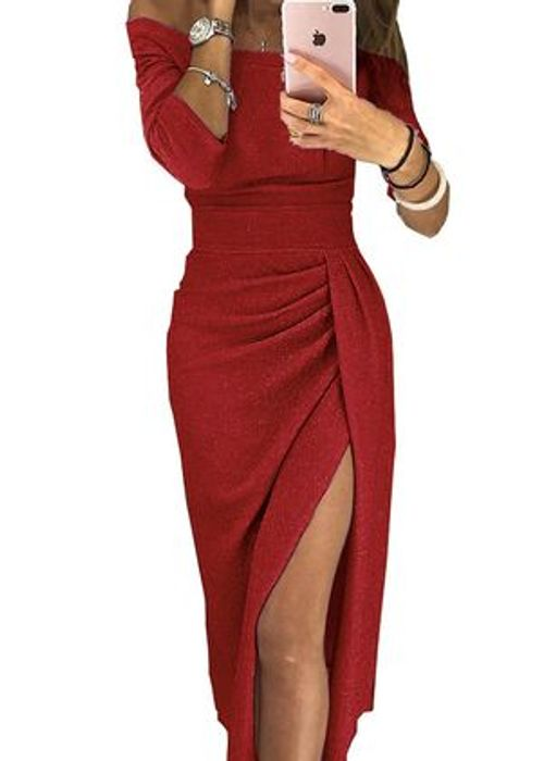 Sexy Solid Pencil off the Shoulder Sheath Dress