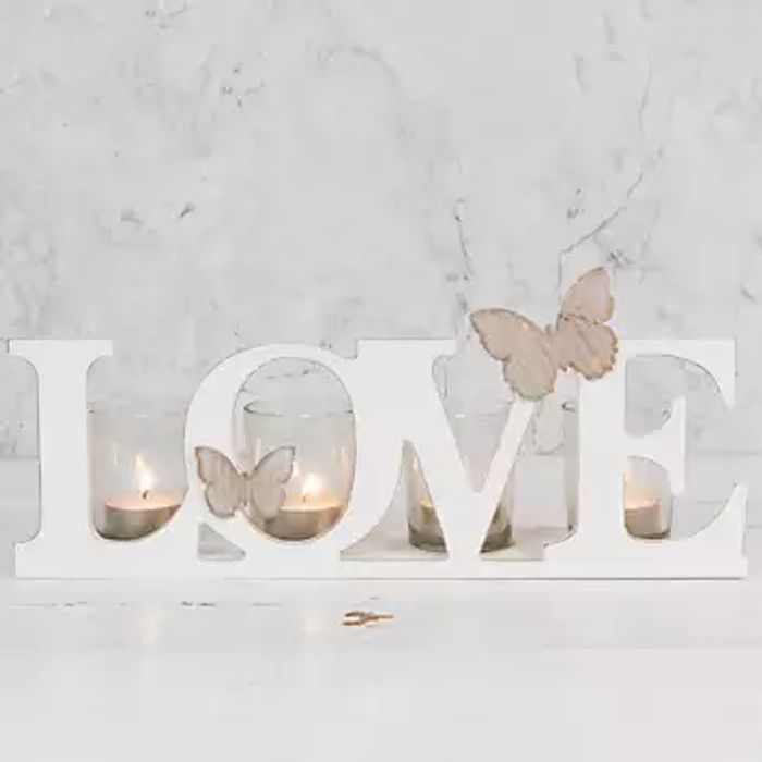 Love Cut out Letters Wooden Candle Holder