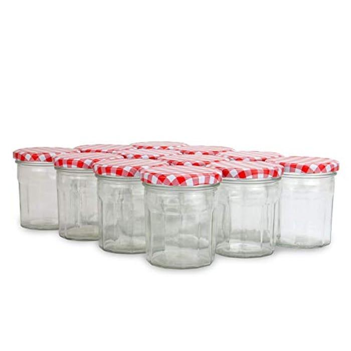 Set of 12 Glass Jam Jars (324ml) - Free Prime Delivery