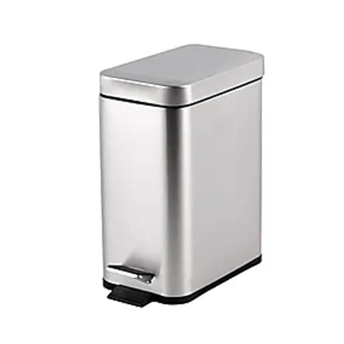 Lovely Slim Brushed Silver Manhattan Slim Bathroom Bin