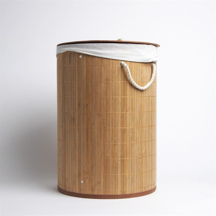Round Bamboo Laundry Basket with Lid- Brown