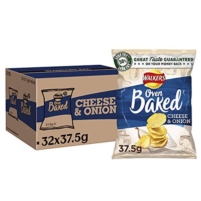 Walkers Baked Cheese and Onion Potato Crisps 37.5 G Case of 32 Bags