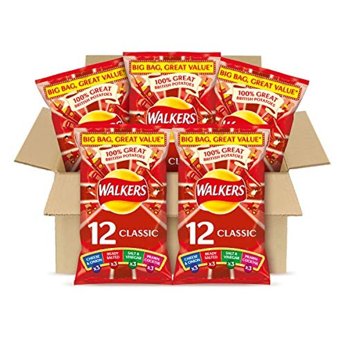 Walkers Classic Variety Multipack Crisps Box (60 Single Bags)Buy 4, save 5%