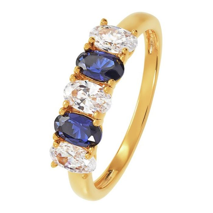 Revere 9ct Gold Plated Cubic Zirconia 5 Stone Ring