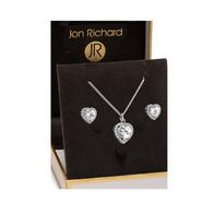 Jon Richard Cubic Zirconia Pave Heart Pendant and Earring Set