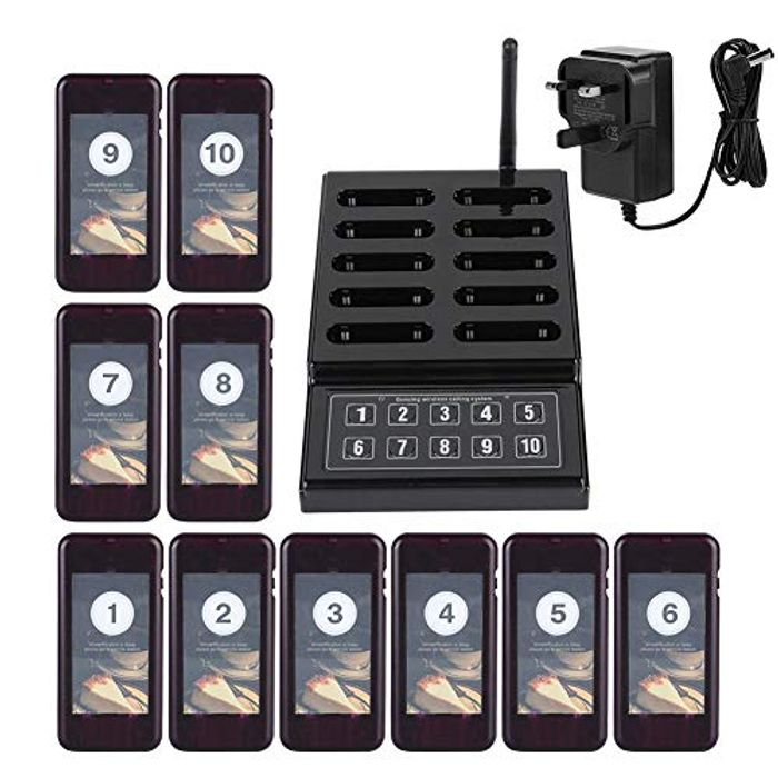 Wireless Calling Paging System- 1 Keypad Transmitter + 10 Pager