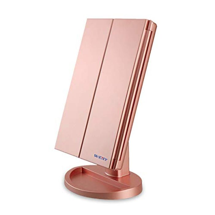 WEILY Lighted Vanity Makeup Mirror 1x/2x/3x Magnification Trifold