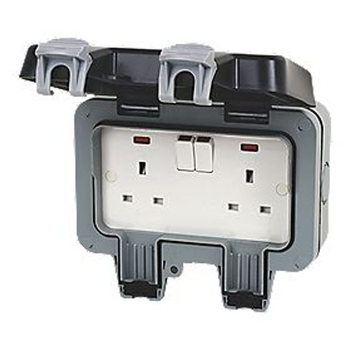 British General Gang DP Weatherproof Outdoor Switched Socket - Only £6.99!