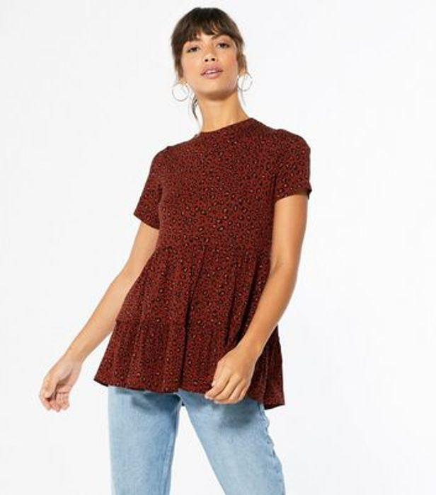 Rust Spot Tiered Peplum Top