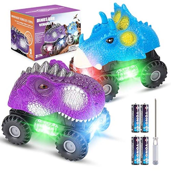 LIGHTNING DEAL - Vimzone Dinosaur Car Toys, Electric Dinosaur Vehicles Toys