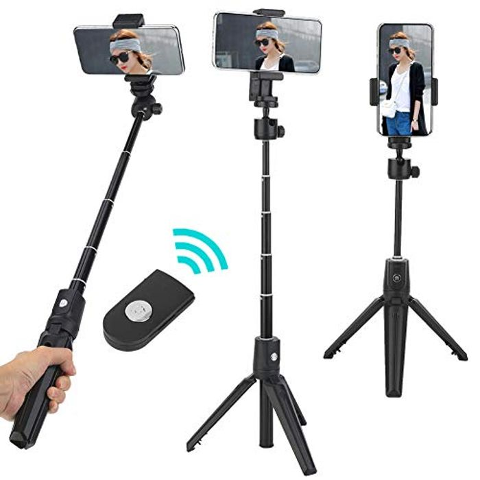2 in 1 Height Adjustable 360 Selfie Stick & Tripod Stand + Remote Control