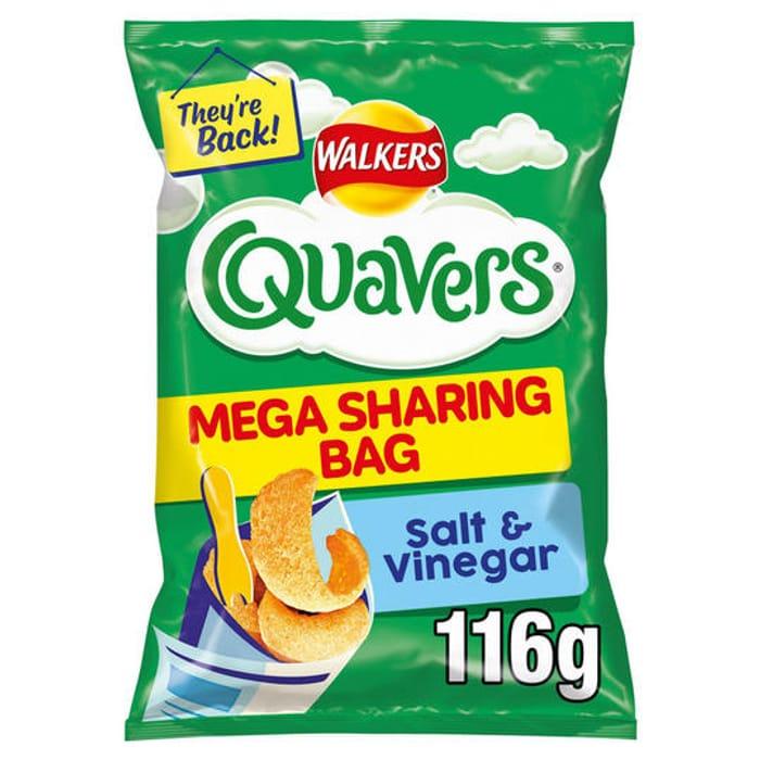 Walkers Quavers Salt & Vinegar/Prawn Cocktail Sharing Snacks 116g