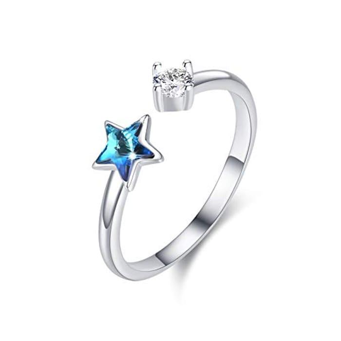 Best Price! Star Ring 925 Sterling Silver Girls Adjustable Crystal Star Rings