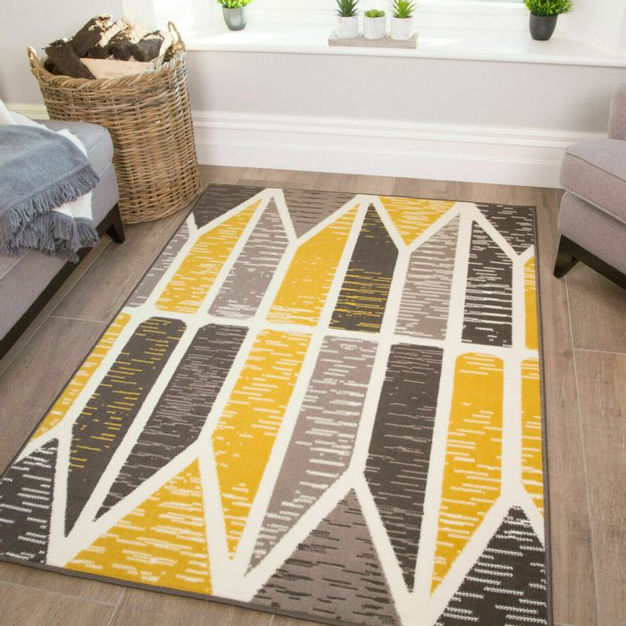 Yellow Mustard Rug | Cheap Geometric Rug | Quality Living Room Mat | Grey Rug