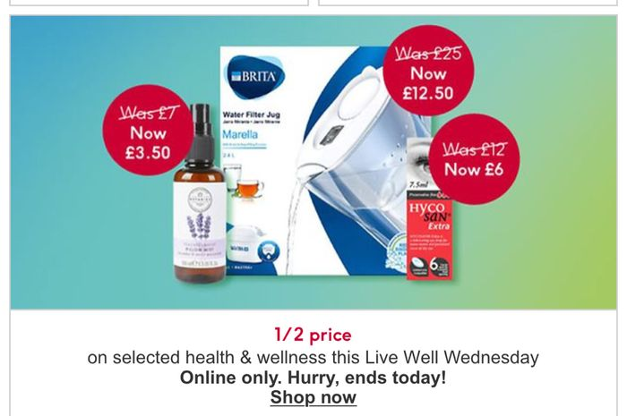 Live Well Wednesday - 1/2 Price on Selected Health and Wellness/ 31 Products in