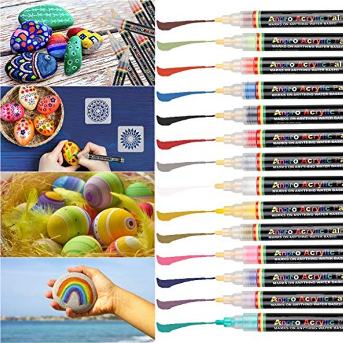 14 Acrylic Paint Pens + 2 Drawing Templates