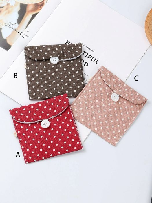Polka Dot Print Sanitary Cotton Storage Bag