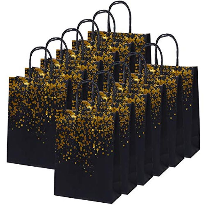 Best Price! 20 Black and Gold Party Bags Gift Bags