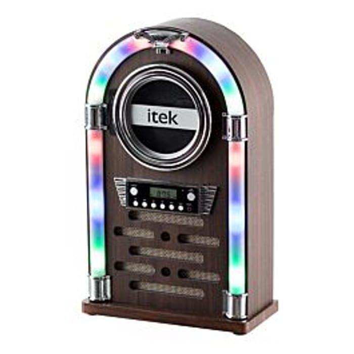 *SAVE £50* Itek Mini Bluetooth Jukebox with CD Player and Radio - Wood