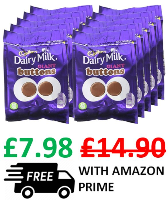 Cadbury Dairy Milk Giant Chocolate Buttons Bag, 95g, Pack of 10