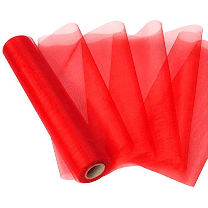 Red Organza Roll 10m X 25cm 50% off Promotion