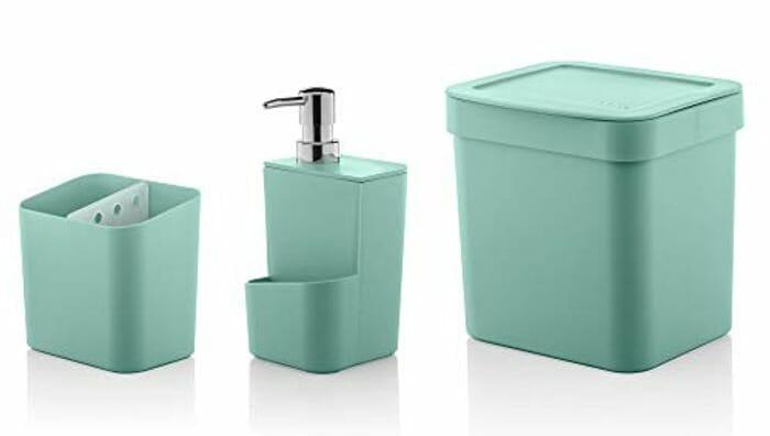 3 Piece Bathroom Set - Soap Dispenser, Toothbrush Holder & Bin