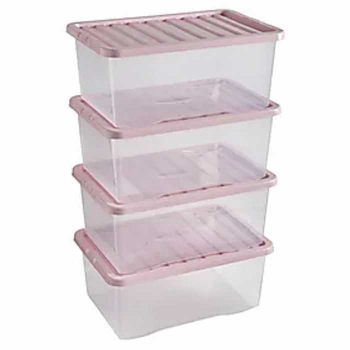 Cheap Pack of 4 Blush 17L Storage Boxes Only £10