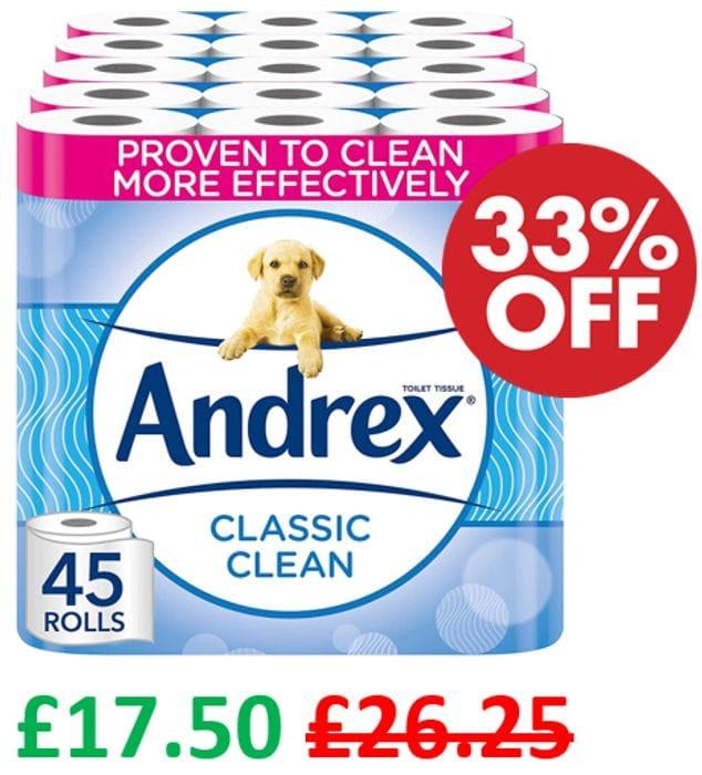 PRICE DROP! 45 Andrex Classic Clean Toilet Rolls