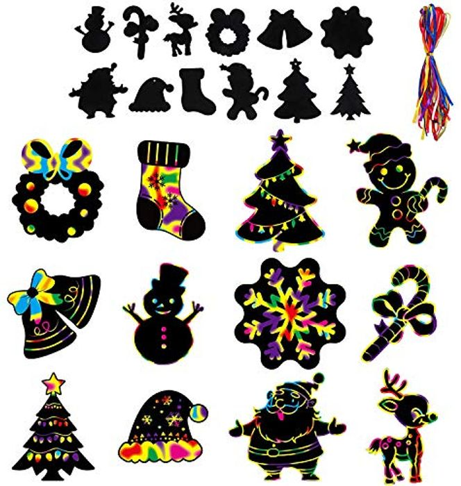 48pcs Christmas Scratch Art Hanging Decorations