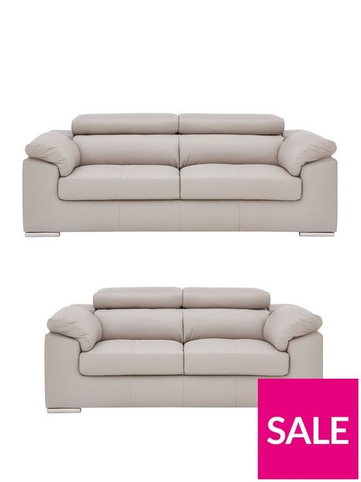*SAVE £350* Brady 100% Premium Leather 3 Seater + 2 Seater Sofa Set Grey/Black